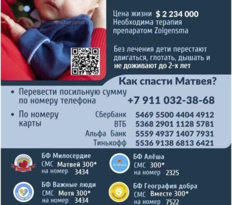 Объявлен сбор средств на приобретение лекарства Zolgensma